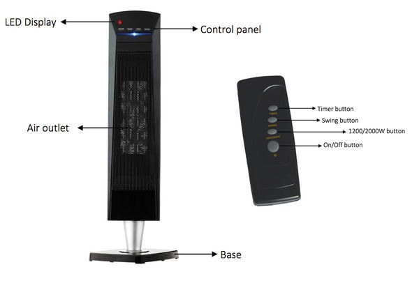 Heller 2000W Ceramic Tower Heater with Oscillating base - Online - KG ...