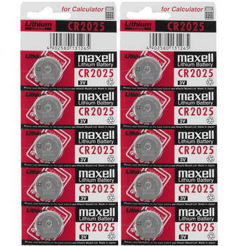 10x Pack MAXELL CR2025 3v 170mah lithium Battery button cell/coin for calculator