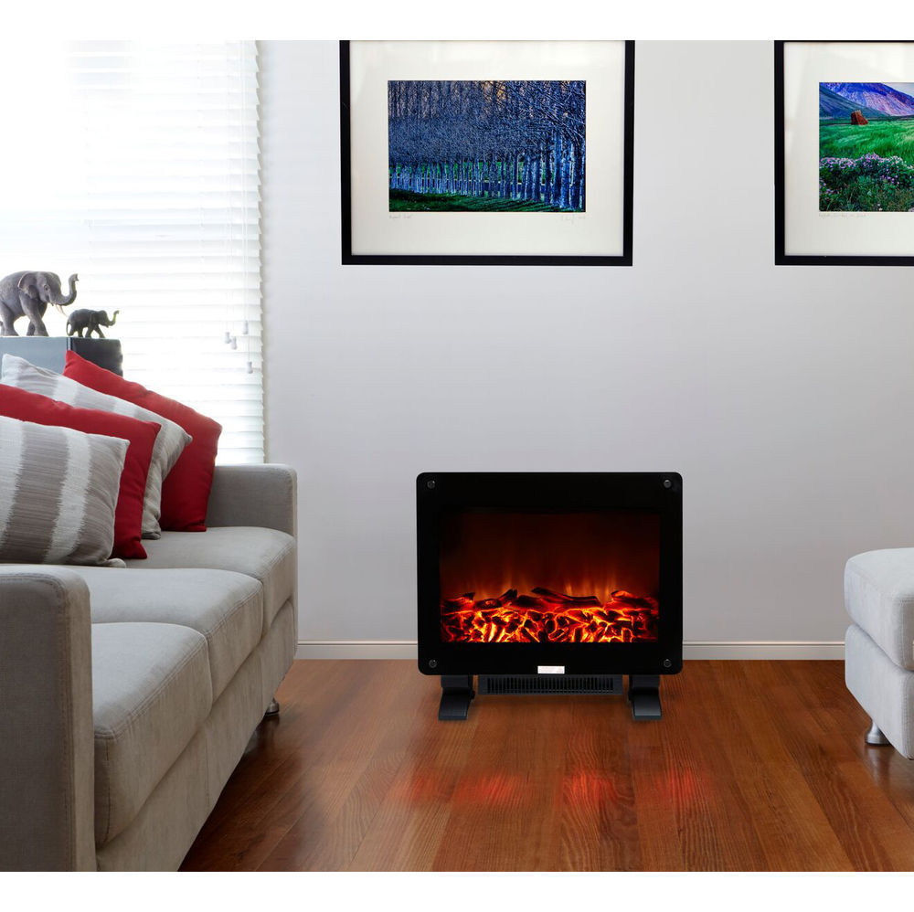 Electric Convection Fan Heater 1500w Real Fireplace Flame