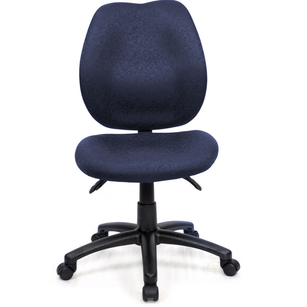 office chair w back support adjustable tilt height 5 wheels seat blue