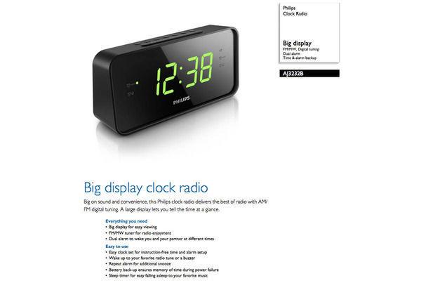 philips aj3232b am fm big display clock radio dual alarm online kg electr. Black Bedroom Furniture Sets. Home Design Ideas