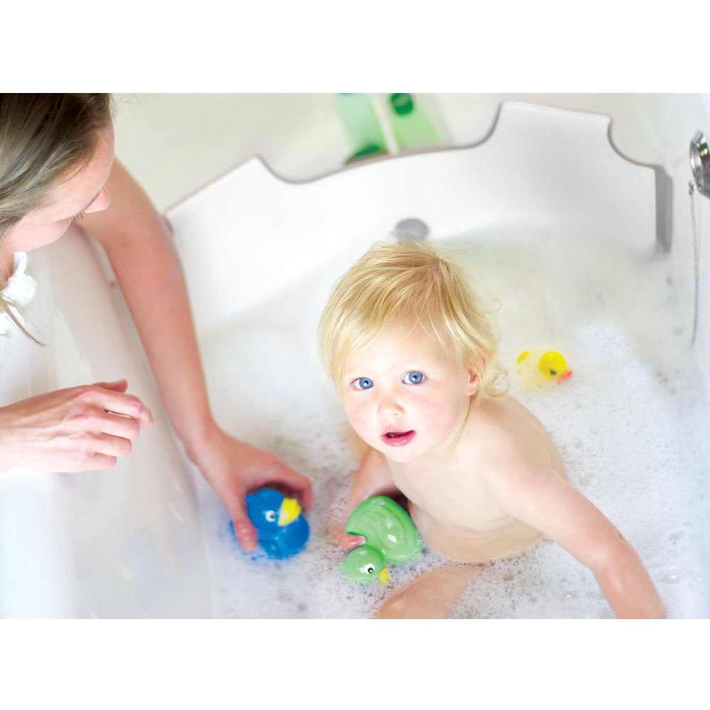 babydam bath barrier baby toddler kids tub bathtub bathing save water grey ebay. Black Bedroom Furniture Sets. Home Design Ideas