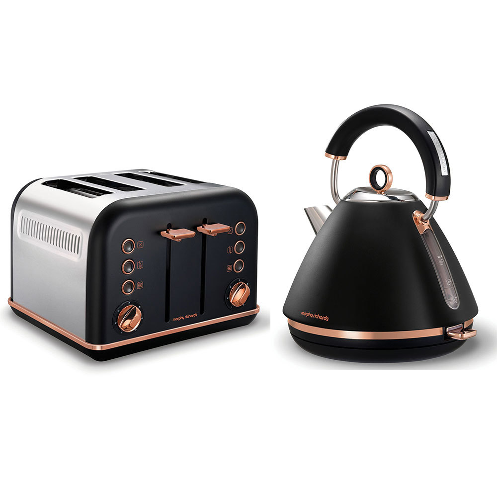 morphy richards black accents rose gold kettle 4 slice. Black Bedroom Furniture Sets. Home Design Ideas