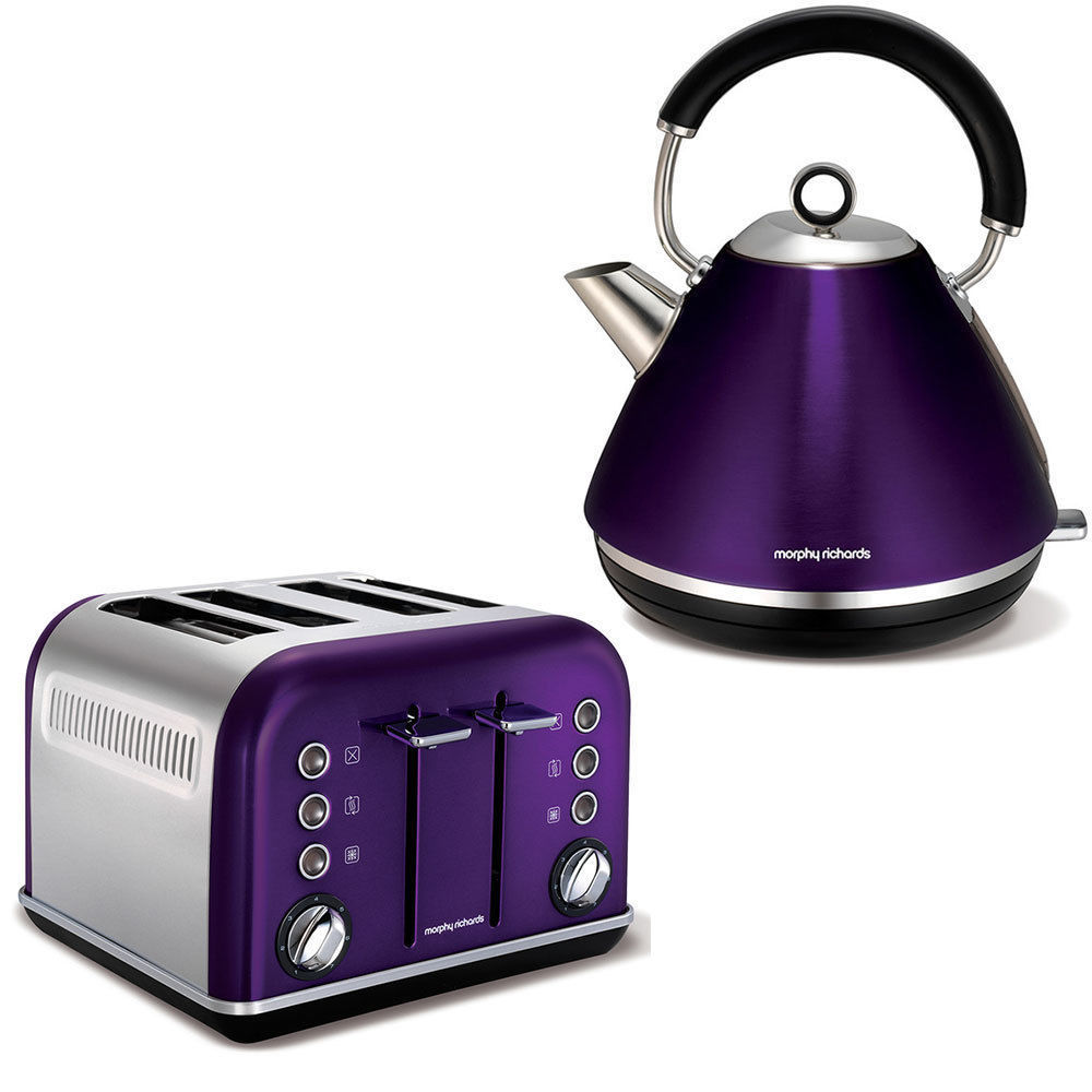 morphy richards plum accents 4 slice toaster and kettle. Black Bedroom Furniture Sets. Home Design Ideas