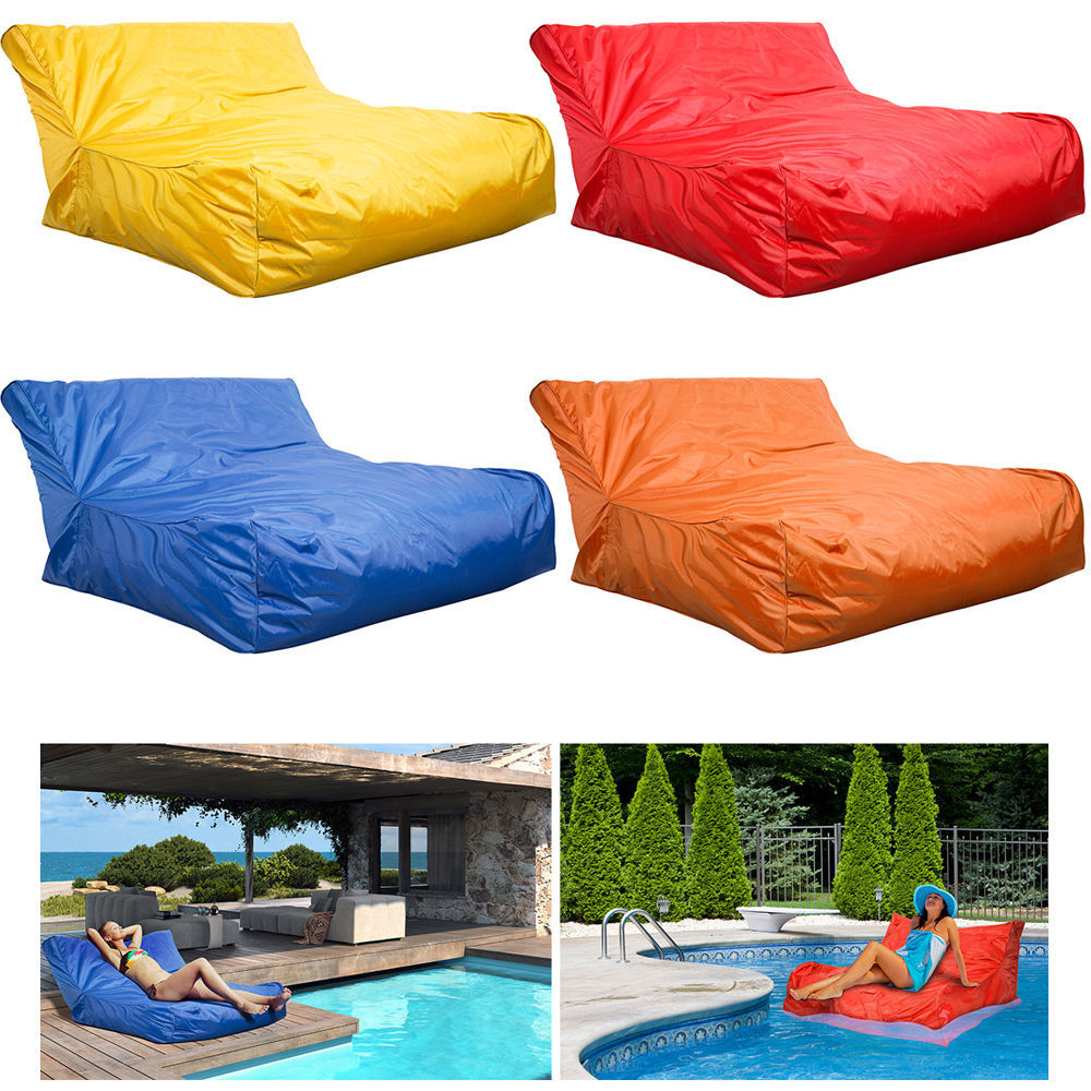 Swimming pool floating bean bag indoor outdoor waterproof for Garden pool loungers