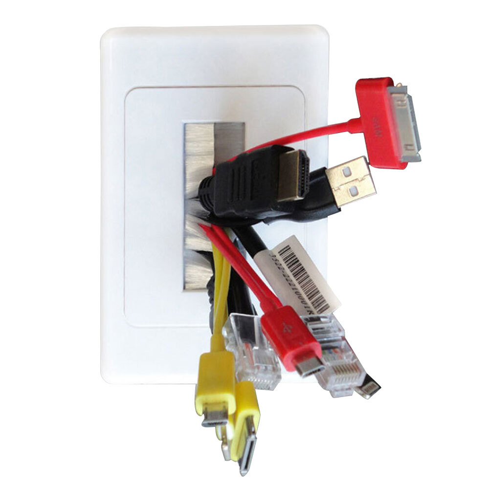 White 2X Wall Plate Wallplate W//Brush Outlet Cover For Cable Lead Organiser
