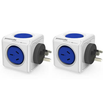 2 Pack Blue Powercube Original 2 Socket Power Board w/ Dual USB Port
