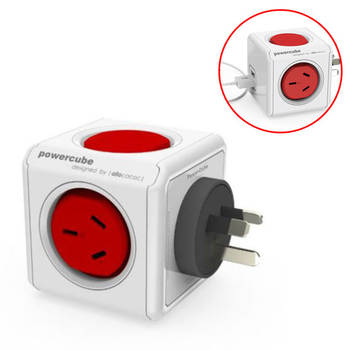 Red Powercube Original 2 Socket Power Board w/ Dual USB Port