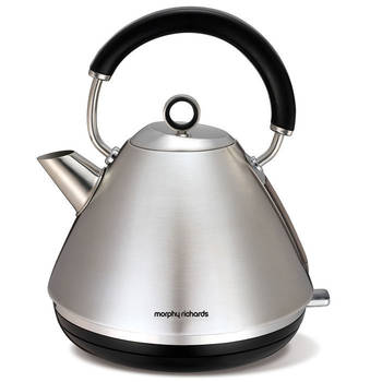 Brushed Stainless Steel Morphy Richards 1.5L Accents Traditional Pyramid Cordless Kettle