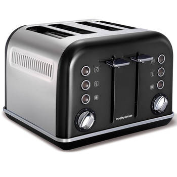 Morphy Richards 242018 Black Chrome Accents 4 Slice Toaster Stainless Steel