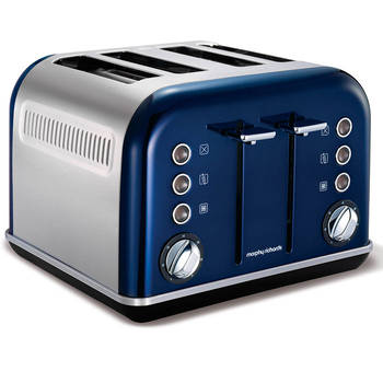 Morphy Richards 242024 Metallic Blue Chrome Accents 4 Slice Toaster Stainless Steel
