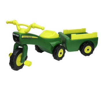 John Deere Ride On Pedal Trike Tractor & Pull Wagon Kids Children Toy Tricycle