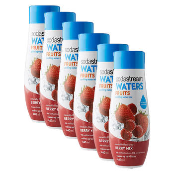 6x Sodastream Waters Fruits Berry Mix 440ml Sparkling Water Syrup/Sweetened Mix