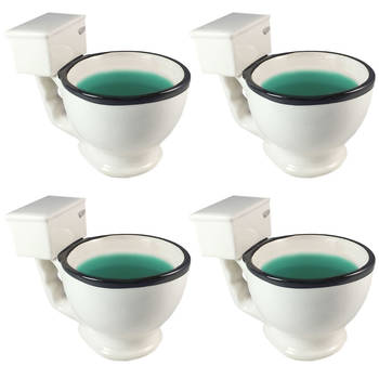 4PC -  BigMouth The Toilet Coffee Mug Ceramic Novelty Glass