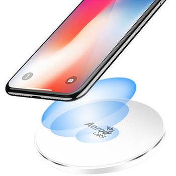 AeroCool Wireless Fast Charger w/LED for 7.5W Apple/10W Android - White