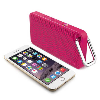 Pink Iluv Mini Smart 6 Splash Proof Fm Radio & Bluetooth Speaker W/ Carabiner