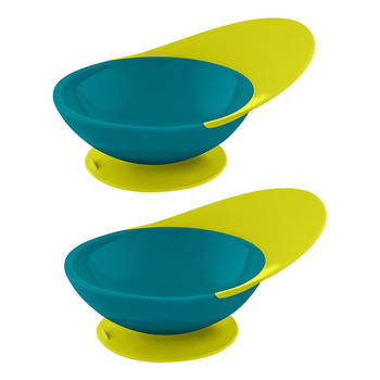 2PK BOON Catch Bowl with Spill Catcher - Blue/Green - 9m+