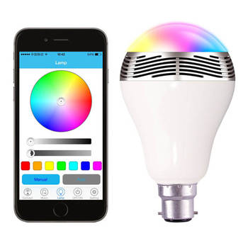 Bluetooth Lightbulb Speaker Control Lights/Music Smartphone For Iphone/Android