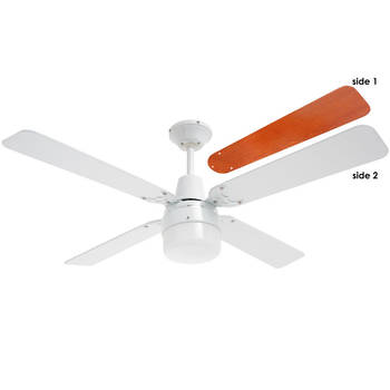Heller  1200Mm White Ceiling Fan 4 Wood Blades With Clipper Light - 3 Speed
