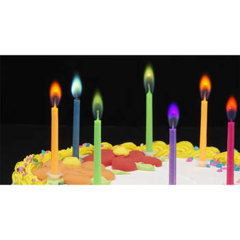 12pc Coloured Flame Party Candles