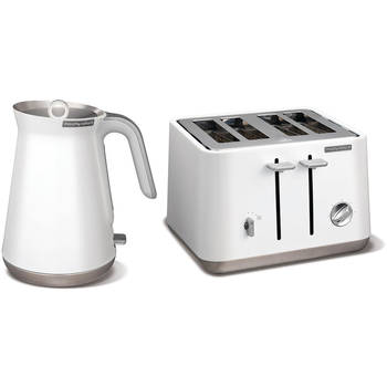 White Morphy Richards Aspect Stainless Steel 1.5L Kettle & 4 Slice 1800W Toaster