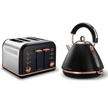 Morphy Richards Black Accents Rose Gold Kettle & 4 Slice Toaster