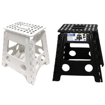 2PK 39cm White/Black Plastic Folding Stool