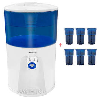 Heller 8.5L Bench Top Water Filter Cooler + 6 Filter Replacements