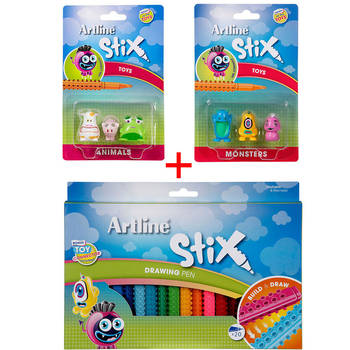 Artline Stix Drawing Pen 20pk Pens/Markers w/Animals/Monsters