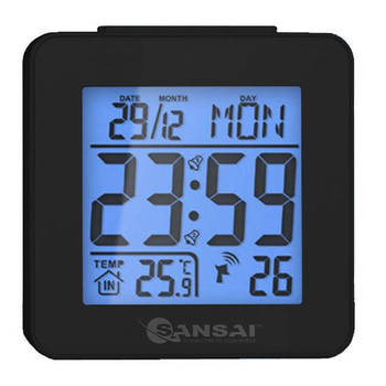 Sansai LCD Digital Alarm Clock Black