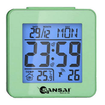 Sansai LCD Digital Alarm Clock Green