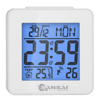Sansai LCD Digital Alarm Clock White