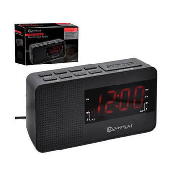 "Sansai Digital PPL AM/FM Dual Alarm Clock Radio 1.2"" LED Display/Sleep Timer"