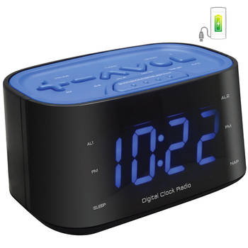 FM Radio Dual Alarm Clock/Large Big LED Digital Display Number/Charger USB Port