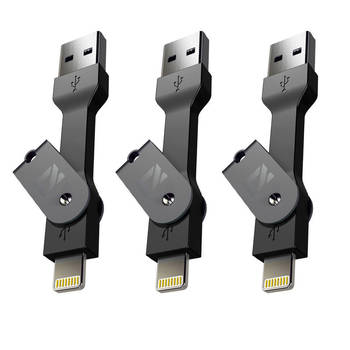 Black Extreme Mykey Lightning USB Key Sync/Charge Cable For Iphone/Ipad