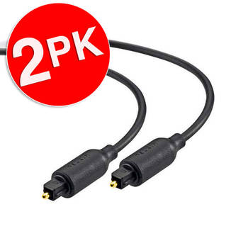 2PK Belkin 2m Gold Plated Optical Audio Cable - Black
