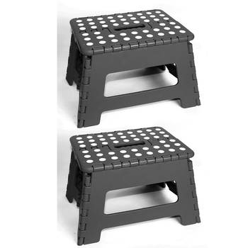 2PK 22cm Black Plastic Folding Step Stool