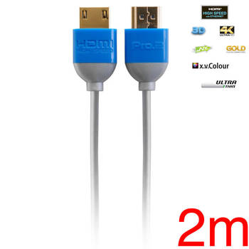 Pro2 Ultra Thin 2m HDMI Cable 2K 4K 3D Lead for DVD Blu-ray TV Game AV