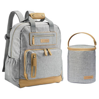 JJ Cole Papago Baby Nappy Backpack w/Cooler Bottle Bag - Heather Grey