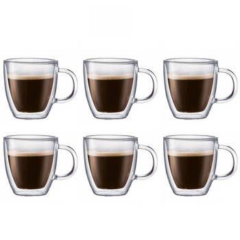 6pk Double Wall Thermo Glass Glasses Cup Mug CoolTouch Hot Cold Drink Coffee tea