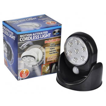 Black Motion Activated Cordless Rotating LED Light