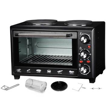 Maxim MOHP28R Portable Electric Oven/Hot Plate Cooktop/Rotisserie