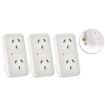 3x Vertical Powerpoint Double Surge Protector Adaptor