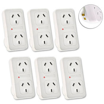6x Vertical Powerpoint Double Surge Protector Adaptor