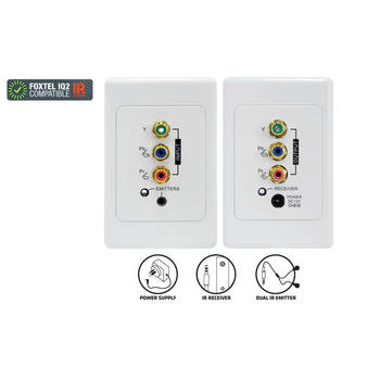 Pro2 Pro1200 Component Cat5 Extender + Ir Wall Plate Kit Clipsal For Foxtel Iq2