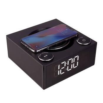 Qi Wireless Charger w/ Alarm Clock & Bluetooth Speaker