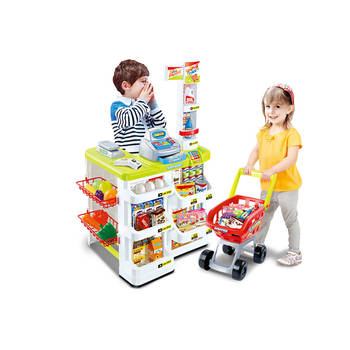 Kids Supermarket Store Food Pretend Play Set Cash Shopping Trolley Toys Market