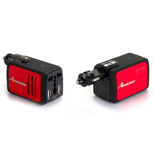 Amacrox 2.1A/100W DC to AC Power Inverter Car Charger Dual USB Ports