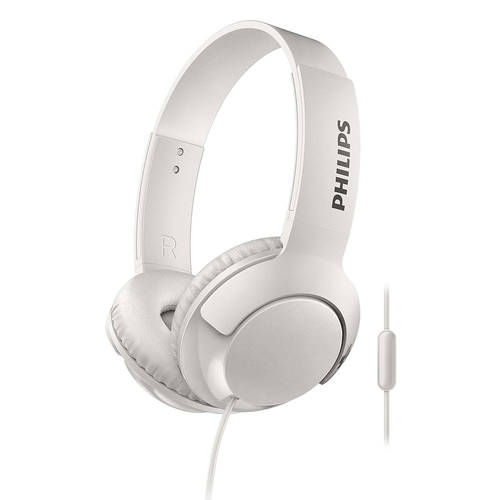 Philips BASS+ On-Ear Headphones w/ Mic/Remote WHITE